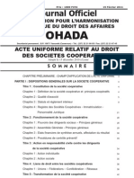 OHADA Droit Societes Cooperatives