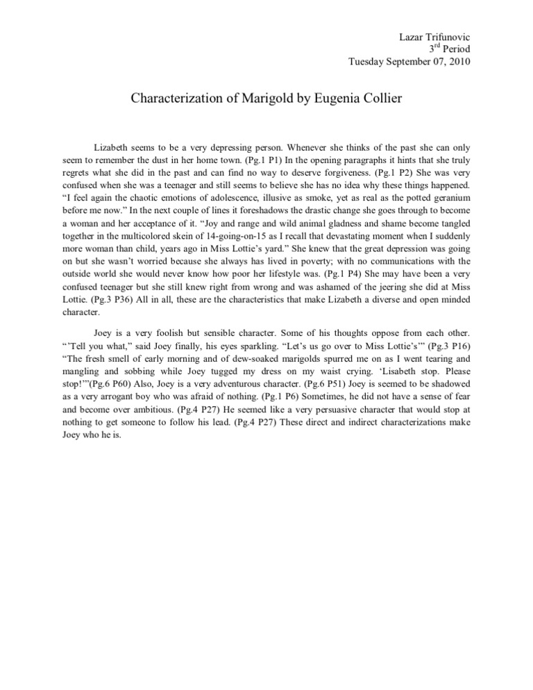 the difficult transition into adulthood in marigolds by eugenia collier
