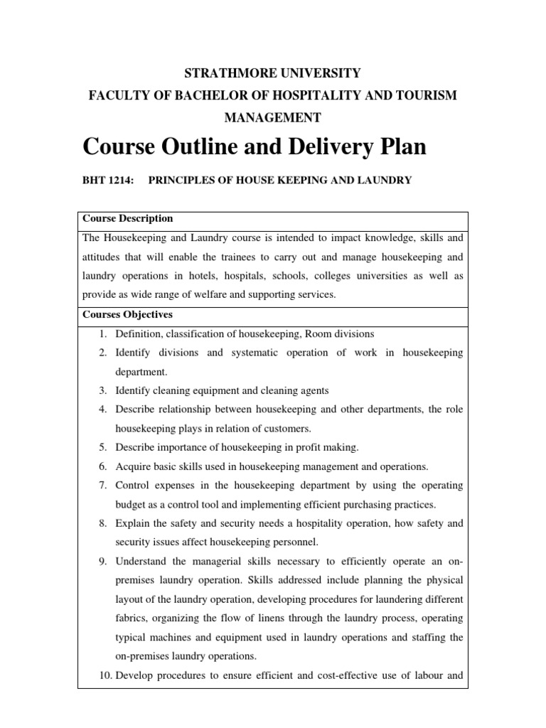 course outline for housekeeping and laundry