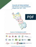 Acta del Acuerdo de Gobernabilidad para el Desarrollo Humano y la Descentralización para la Región Lima 2011 - 2014