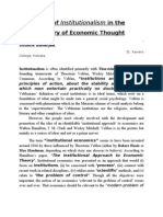 Rise of Institutional Ism in the History of Economic Thought