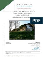 Intervención Arqueológica en la Torre de Ondiz, Leioa (Bizkaia). Memoria Final de Resultados