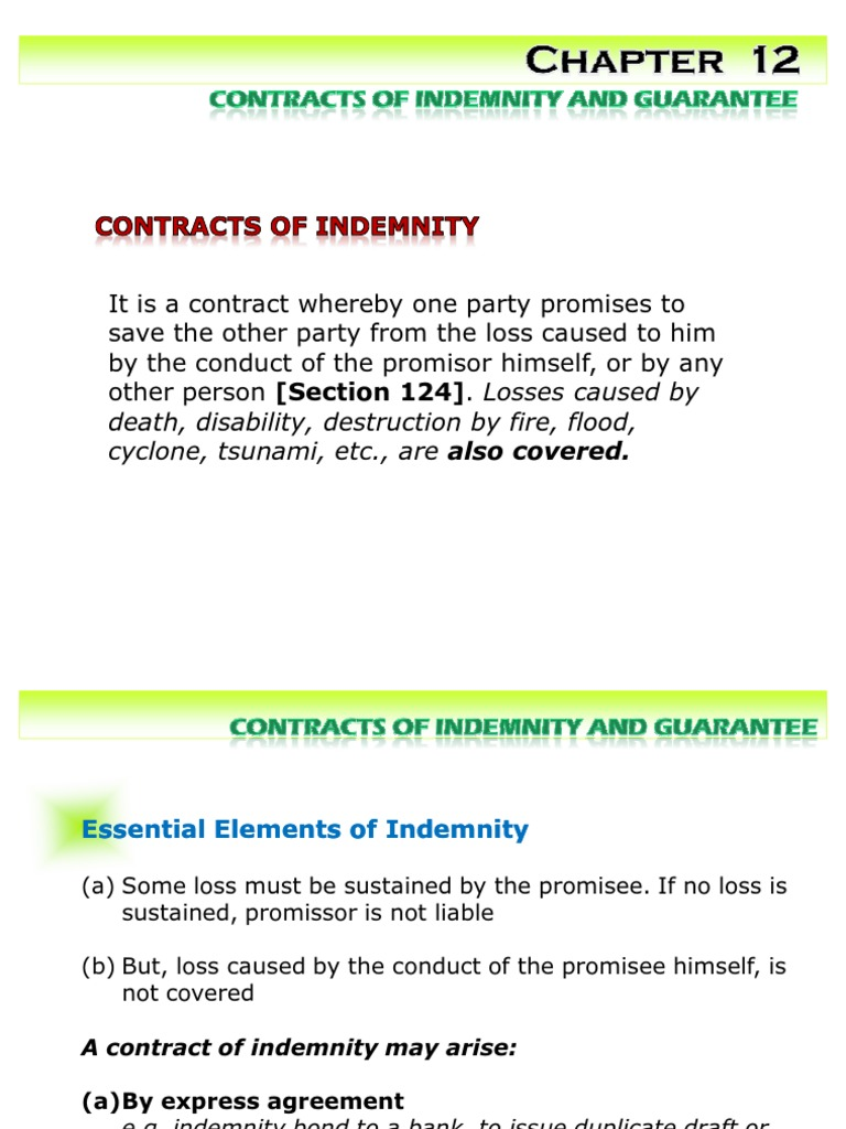 contract of indemnity and contract of guarantee