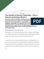 Benefits of Internet Marketing