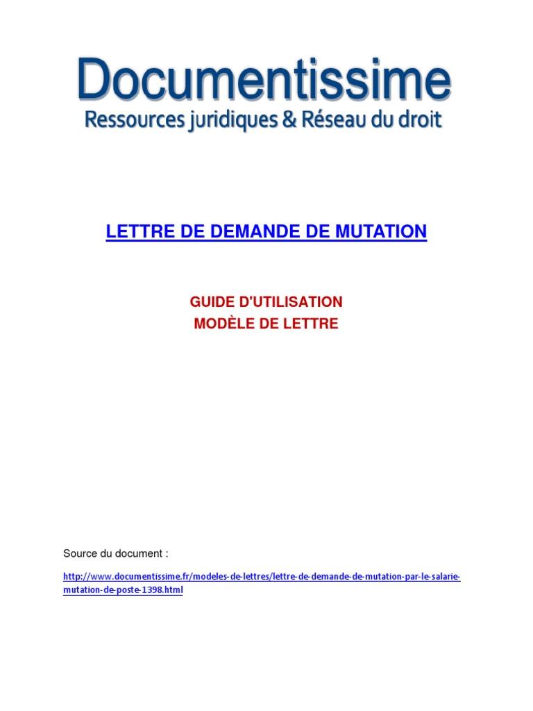 Modele de Lettre de Demande de Mutation