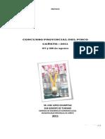 PROYECTO CONCURSO PROVINCIAL DEL PISCO 2011