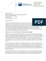 Letter to Campaign Finance and Disclosure Board in support of staff recommendations