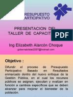 Presentación del taller de capacitación en Presupuestos Participativos