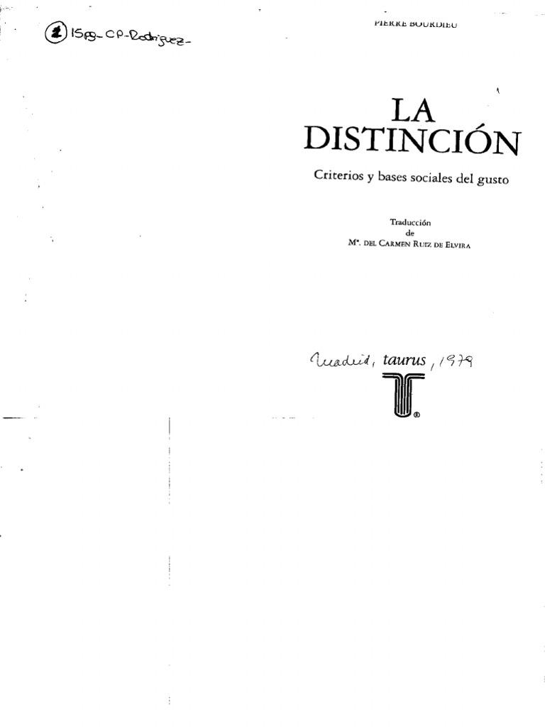 la distincion bourdieu pdf descargar libros