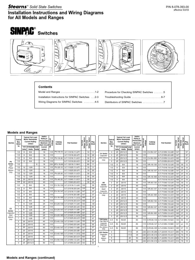 sinpac specs switch electric motor rh es scribd com