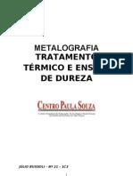 Metalografia - Tratamento Térmico e Ensaio de Dureza
