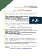 Common Errors Student Checklist