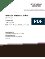 Orvana Minerals Report Stonecap Securities