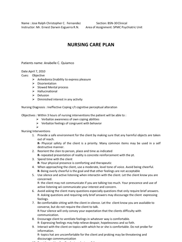 nursing interventions for ineffective coping