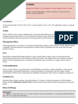 PHENYLEPHRINE HYDROCHLORIDE   Pharmacology   Drugs