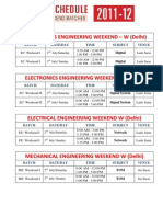 Schedule of Weekend Batch-2011-12 of EC, EE, ME, CE & CS for 2nd July & 3rd July.