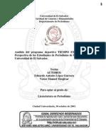 Análisis del programa deportivo TIEMPO EXTRA, Desde la Perspectiva de los Estudiantes de Periodismo de Último Año de la Universidad de El Salvador
