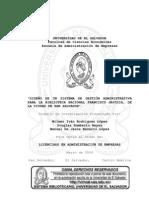 Diseño de un sistema de gestión administrativa para la Biblioteca Nacional Francisco Gavidia, de la ciudad de San Salvador
