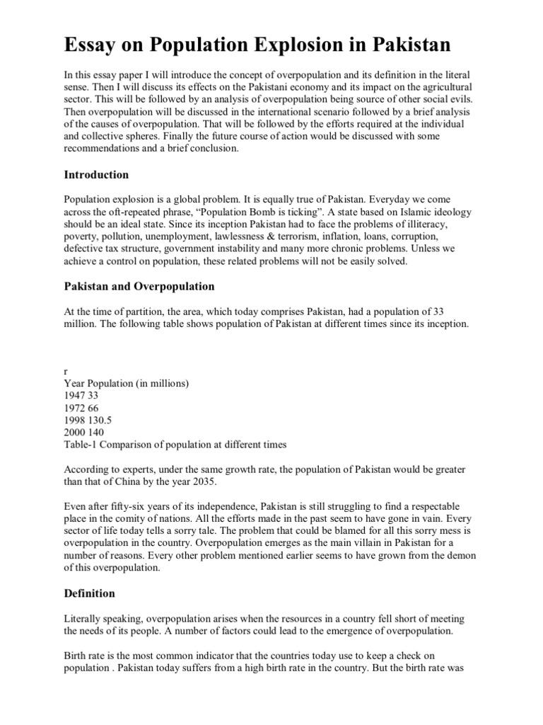 Essay on population explosion in pakistan human overpopulation