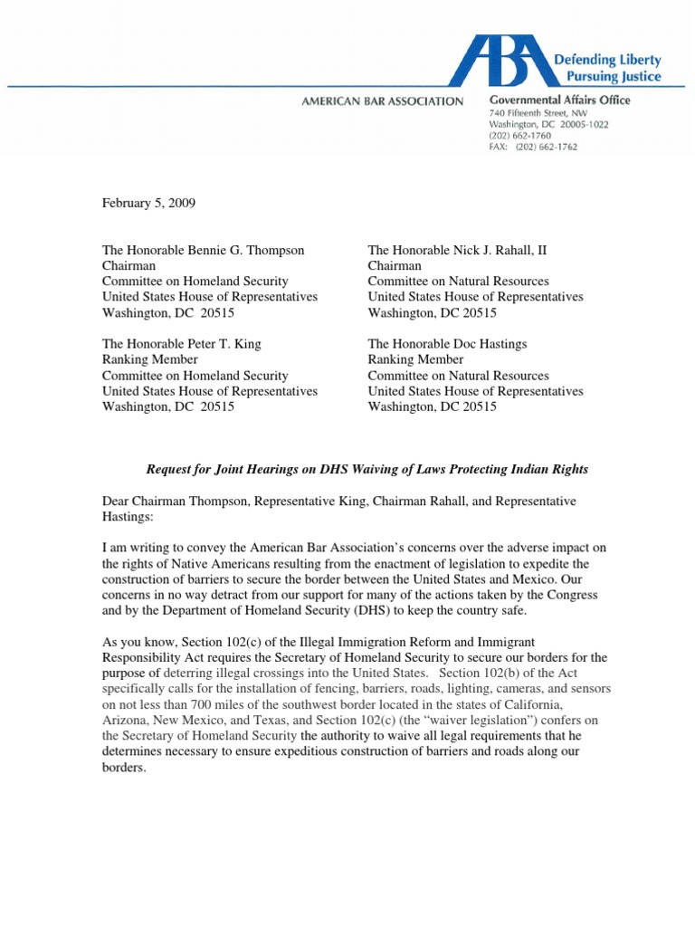 american bar association indian waiver letter   native americans