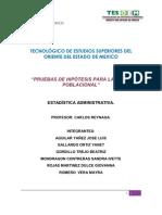 PRUEBA DE HIPÓTESIS PARA LA MEDIA POBLACIONAL