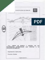 Proyecto de obras de manejo y control de las escorrentías superficiales que afectan a la localidad de Embalse