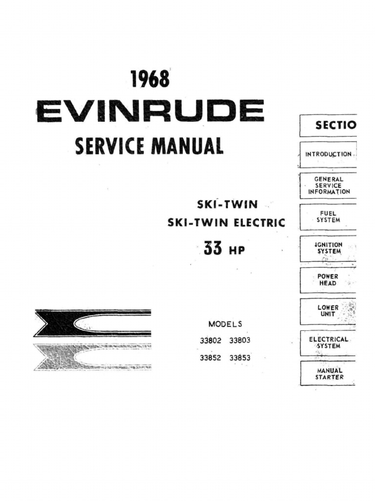 33954324 4536709 Evinrude 33 Hp Ski Twin 338 Series