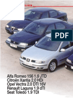 Alfa 156 1.9 JTD - Citroën Xantia 2.0 HDi - Opel Vectra 2.0 DTI 16v - Renault Laguna 1.9 dTI - Seat Toledo 1.9 TDI 110