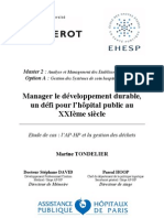 """Mémoire """"Manager le développement durable dans les hôpitaux publics"""""""