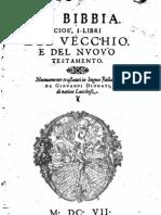 La sacra Bibbia tradotta da Giovanni Diodati - stampa del 1607