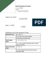 Summary of Coordinate Geometry Formulas