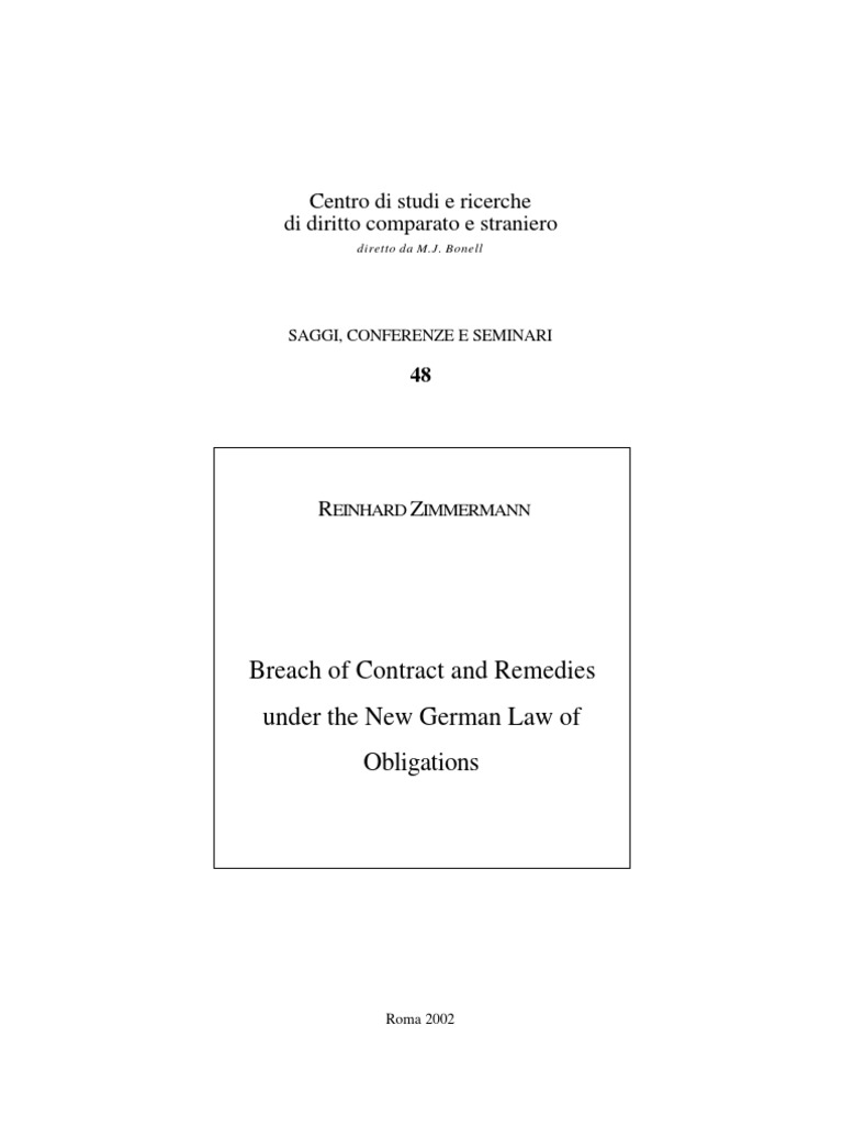 Breach of Contract and Remedies Under the New German Law of ...