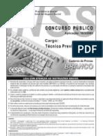 Prova e Gabarito - Tecnico de Seguro Social - Inss 2003