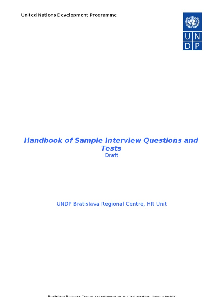 Handbook Of Sample Interview Questions And Tests | Unemployment Benefits |  Employment