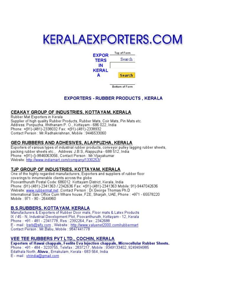 Exporters in Keral1 | Natural Rubber | Carpet