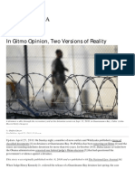 11-04-25 Linzer D, In Gitmo Opinion, Two Versions of Reality - Pro Publica, April 25, 2011