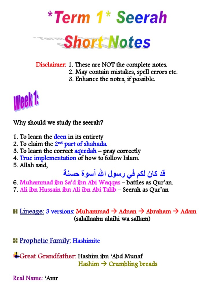 Learn Islam FB Course Term1 Seerah SN