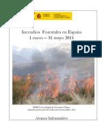Avance MARM Incendios Forestales del 1 de enero al 31 Mayo 2011