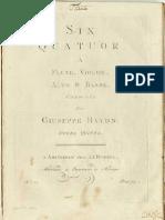 HAYDN, Franz Josef • Six quatuor a flute, violon, alto & basse ... Opera Quinta. Amsterdamm, J.J. Hummel [ca. 1760] (facsimile music source)