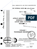 Apollo Mission Techniques. Missions F and G Lunar Orbit Activities. Revision a, Volume 1 Techniques Description