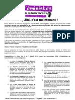 Le texte publié par les Féministes en mouvement