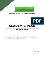 Academic Plan NSTP University of Pangasinan  2008-2009