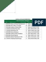 Jadwal Kuliah Semester 6