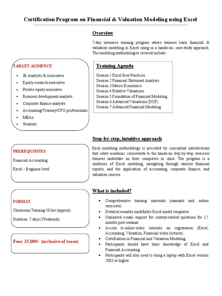 Certification program on financial modeling valuation1 certification program on financial modeling valuation1 discounted cash flow valuation finance xflitez Choice Image