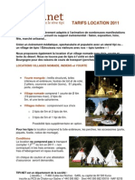 Tarif Location Villages Tipis et Yourte 2011