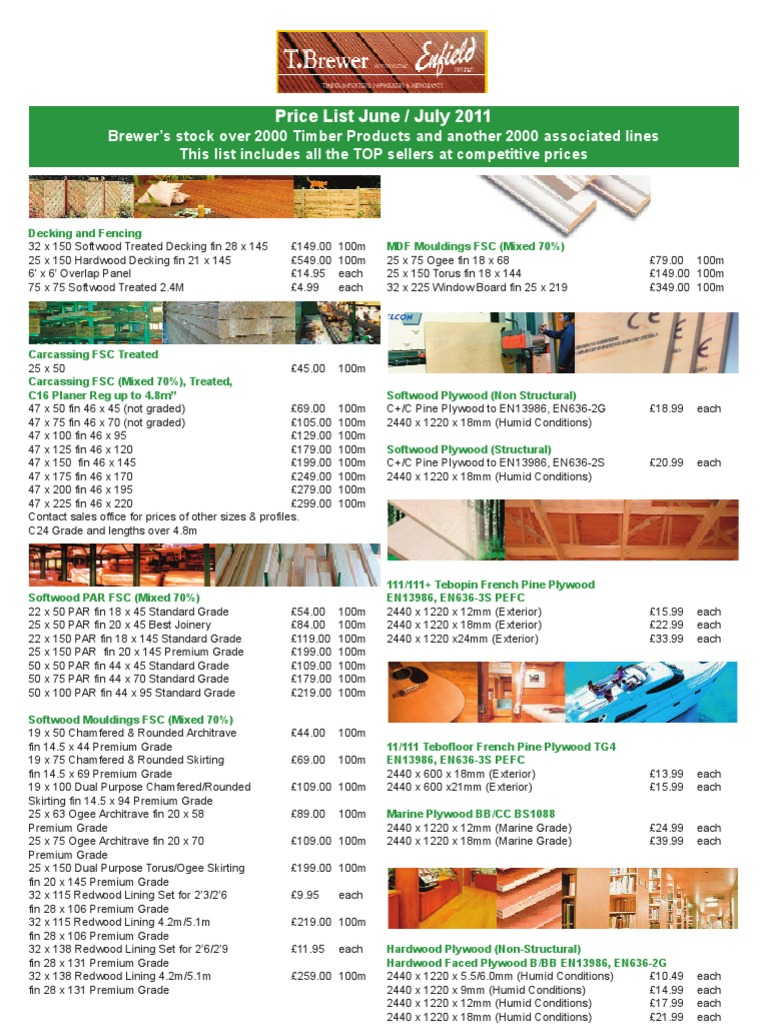 TBrewer Price List June July 2011 | Plywood | Drywall