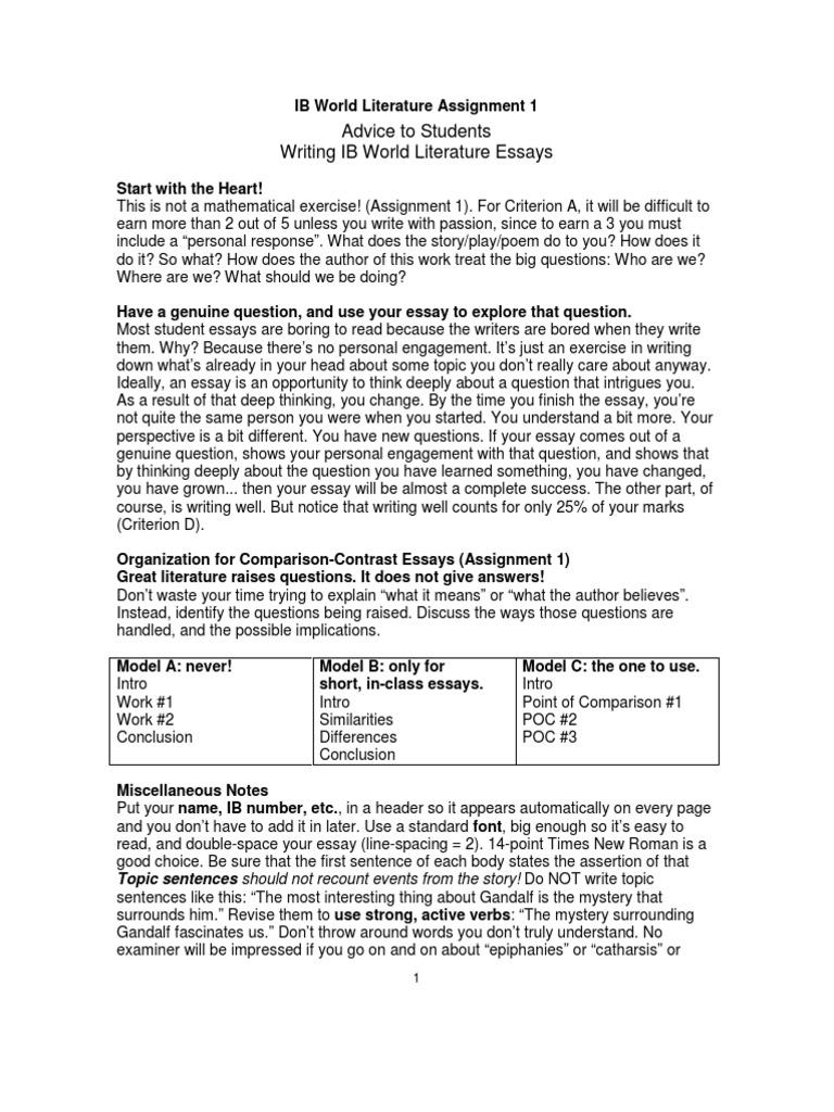 ib world literature assignment   citation  essays
