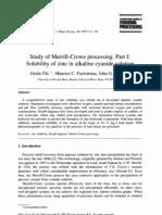 Merrill-Crowe - Solubility of Zinc in Alkaline Cyanide Solution