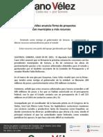 04-07-11 Cano Vélez anuncia firma de proyectos con municipios