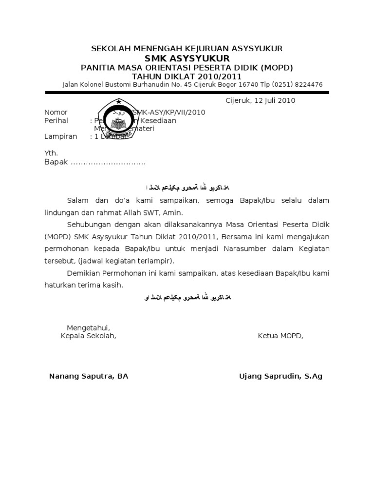 contoh surat pernyataan calon osis contoh fore
